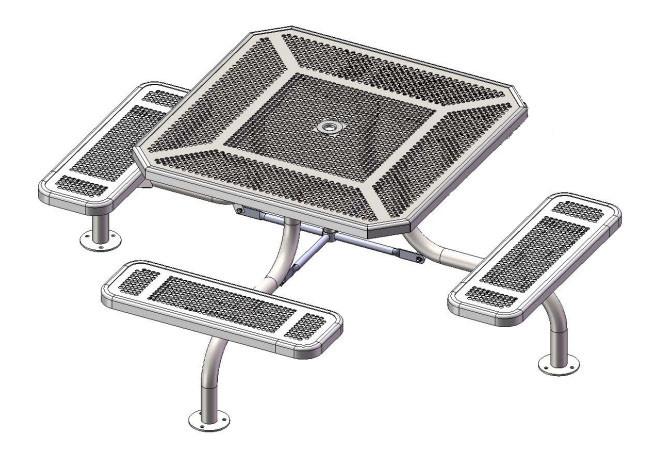 3 Seat Octagon Span Leg Picnic Table - ADA