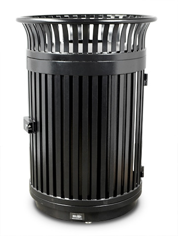 Executive Series Flare Top Trash Receptacle with Door and Flat Lid - Black