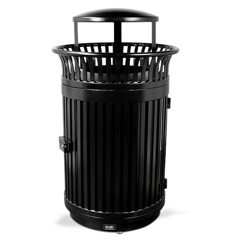 Executive Series Flare Top Trash Receptacle with Door and Bonnet Lid - Black