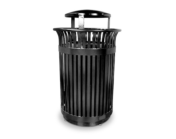Executive Series Flare Top Trash Receptacle with Rain Bonnet Lid - Black