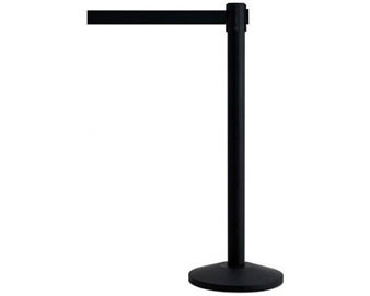 Set of 2 Black Powder Coated Steel Stanchion with 7'6 Belt