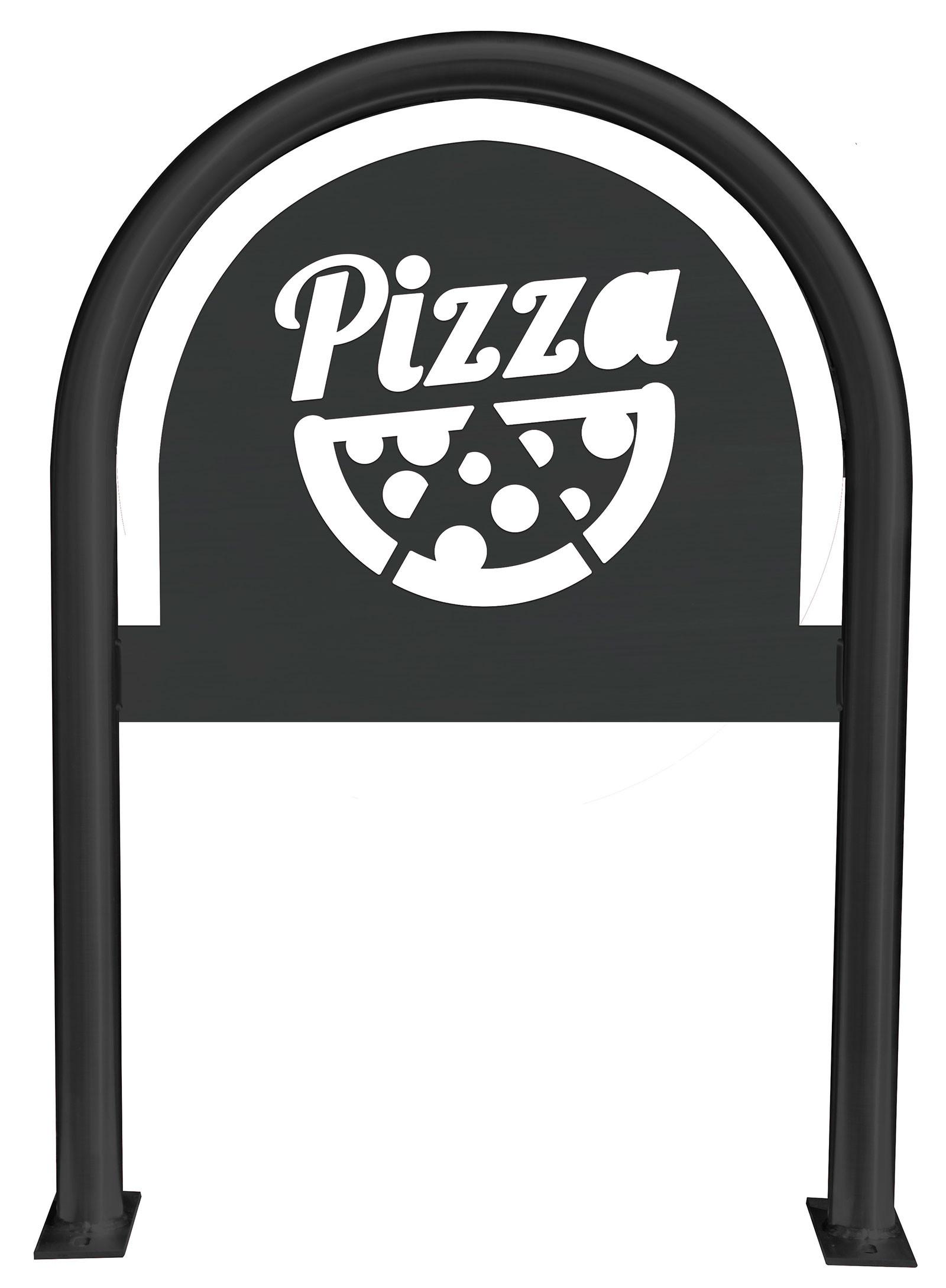 Pizza Slice Laser Cut Panel Themed Bike Rack