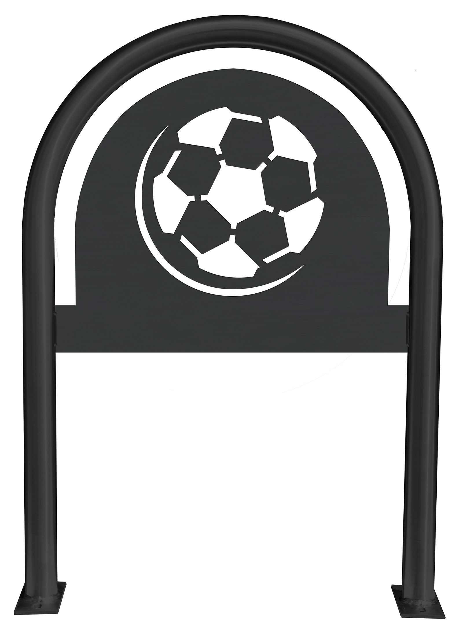 Soccer Ball Laser Cut Panel Themed Bike Rack