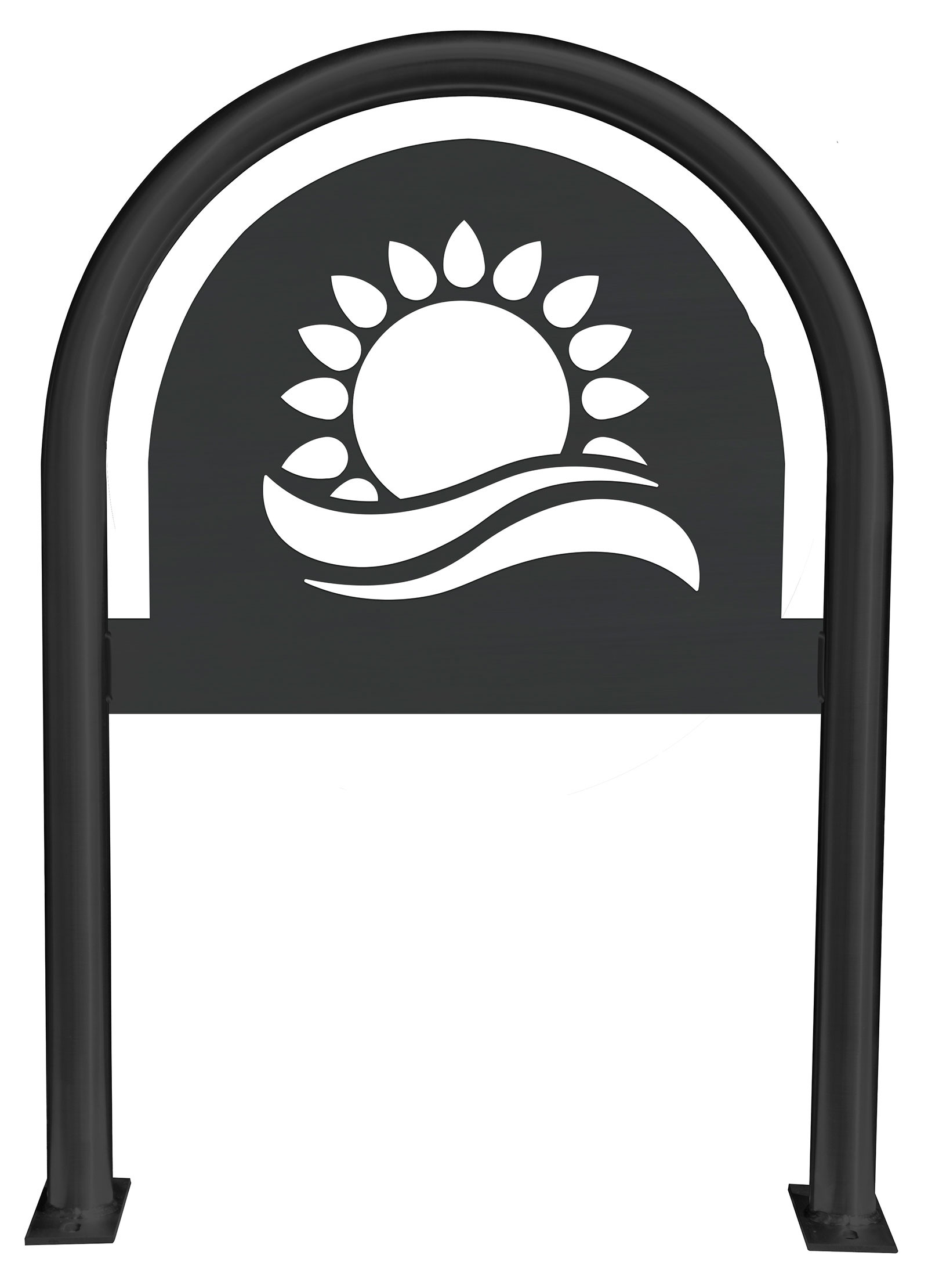 Sun Laser Cut Panel Themed Bike Rack