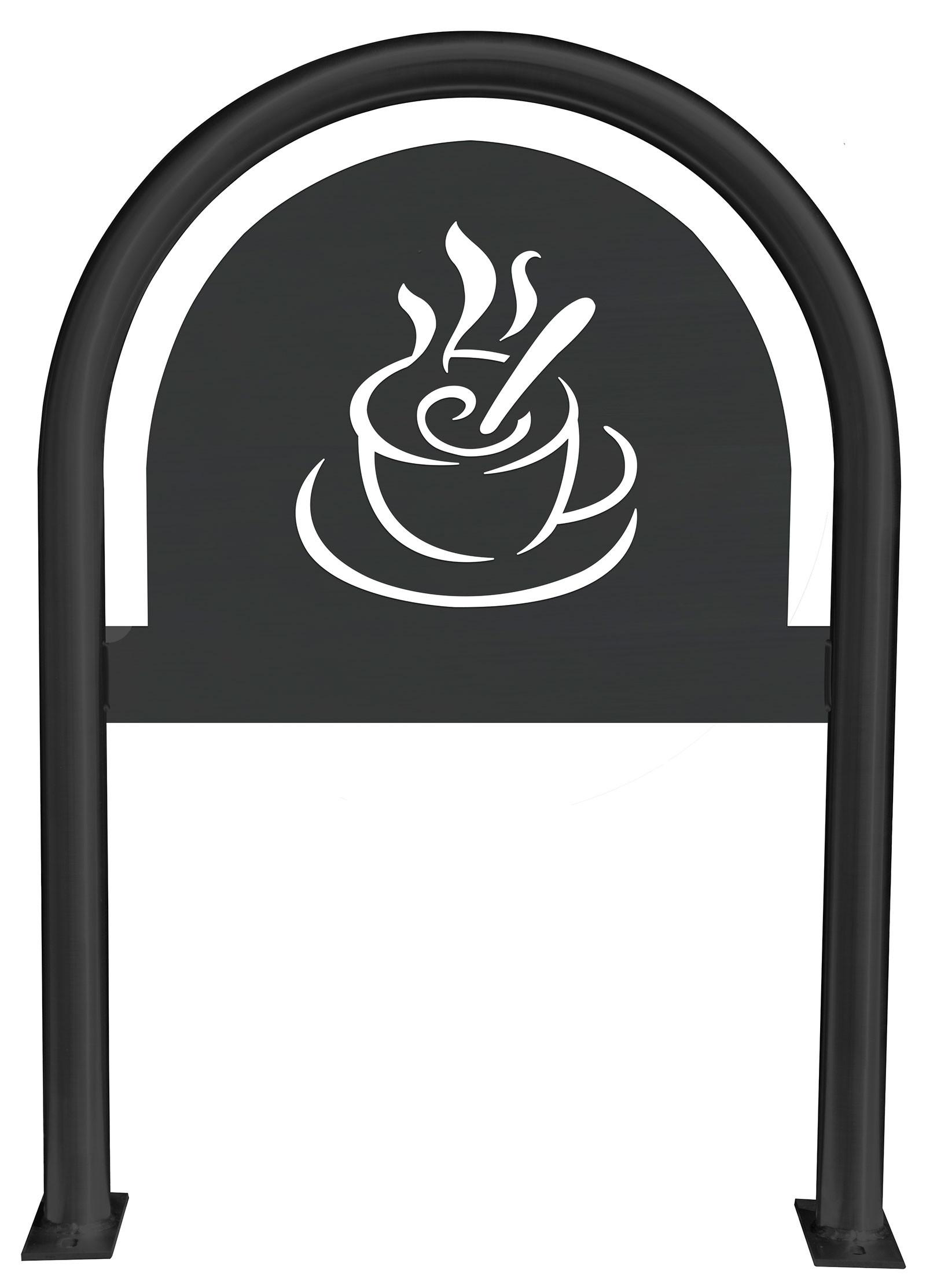 Coffee Cup Laser Cut Panel Themed Bike Rack