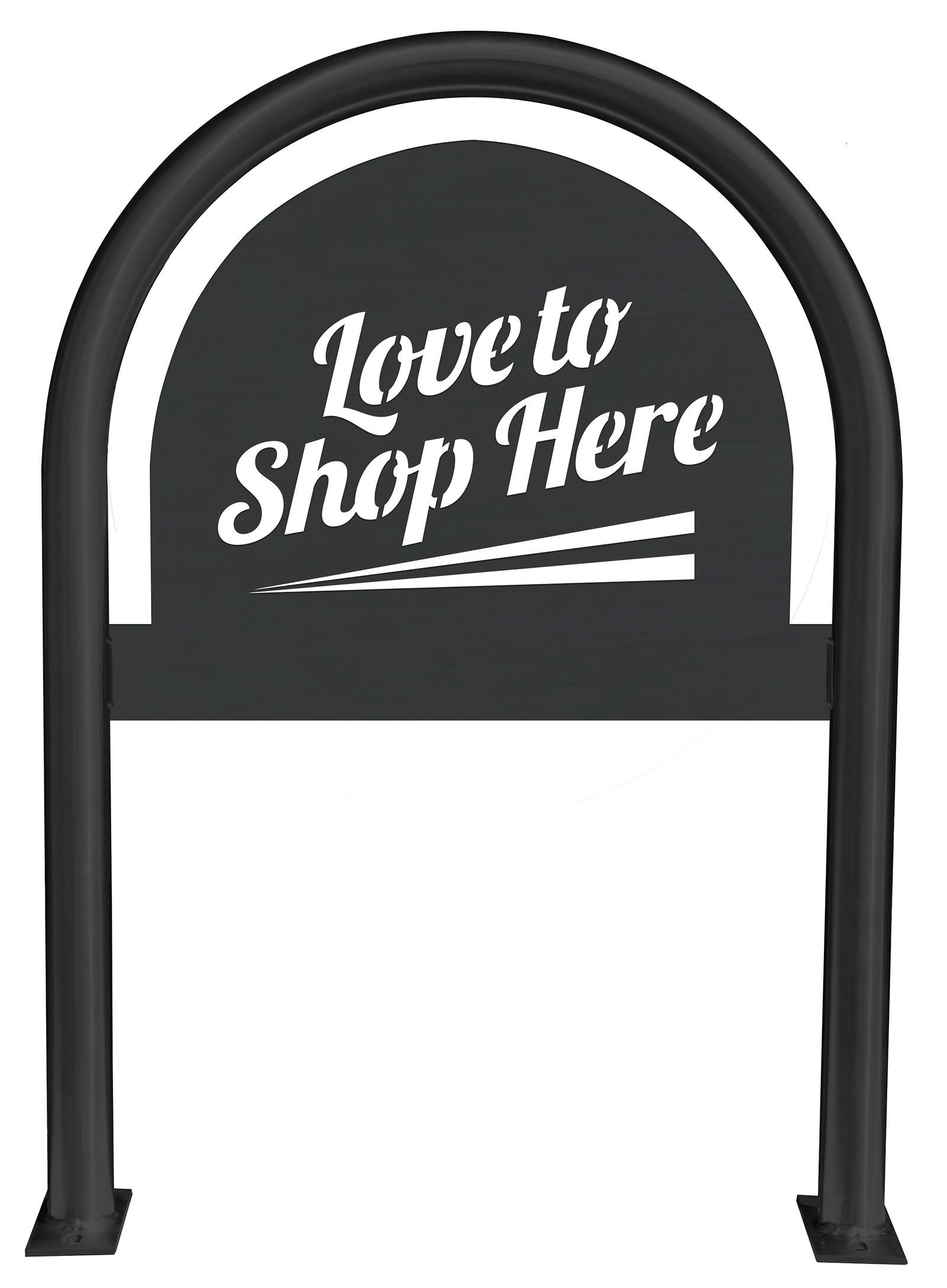 Love to Shop Here Laser Cut Panel Themed Bike Rack