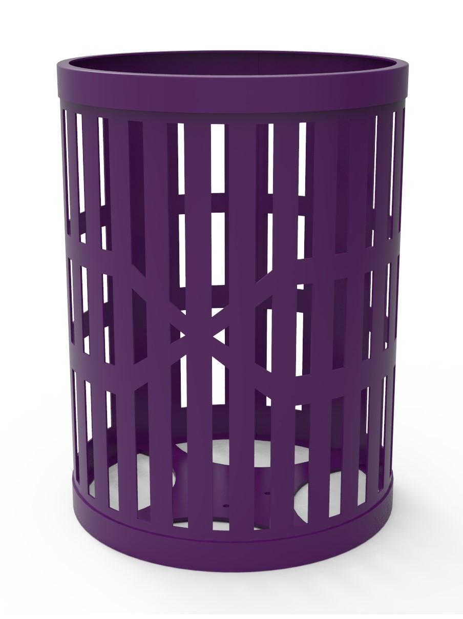 32 Gallon Slatted Steel Trash Receptacle
