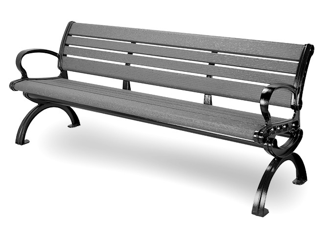 6' Essential Series Aluminum Bench with Back- Textured Powder Coated - Black Frame