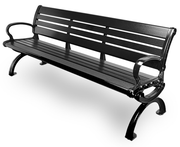 6' Essential Series Aluminum Bench with Back - Powder Coated - Black