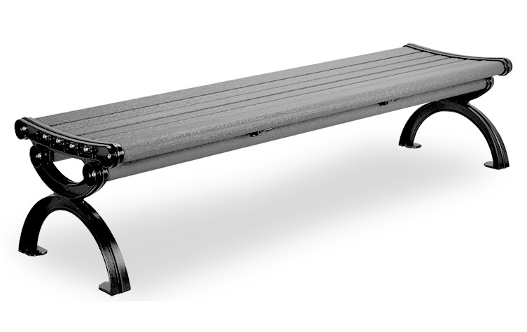 6' Essential Series Aluminum Bench without Back- Textured Powder Coated - Black Frame