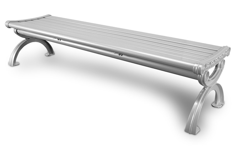 6' Essential Series Aluminum Bench without Back - Powder Coated - Silver
