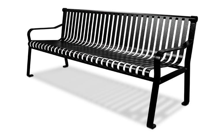 6' Executive Series Steel Strap Bench with Straight Back - Powder Coated - Black