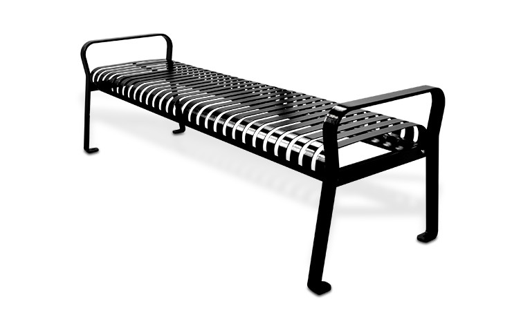 6' Executive Series Steel Strap Bench without Back - Black