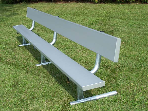 Aluminum Player's Bench with Back and Galvanized Frame - Portable