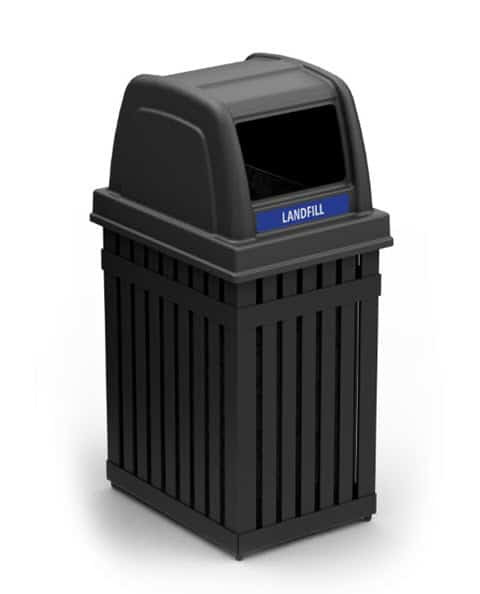 Square Powder Coated Steel Slat Trash Receptacle
