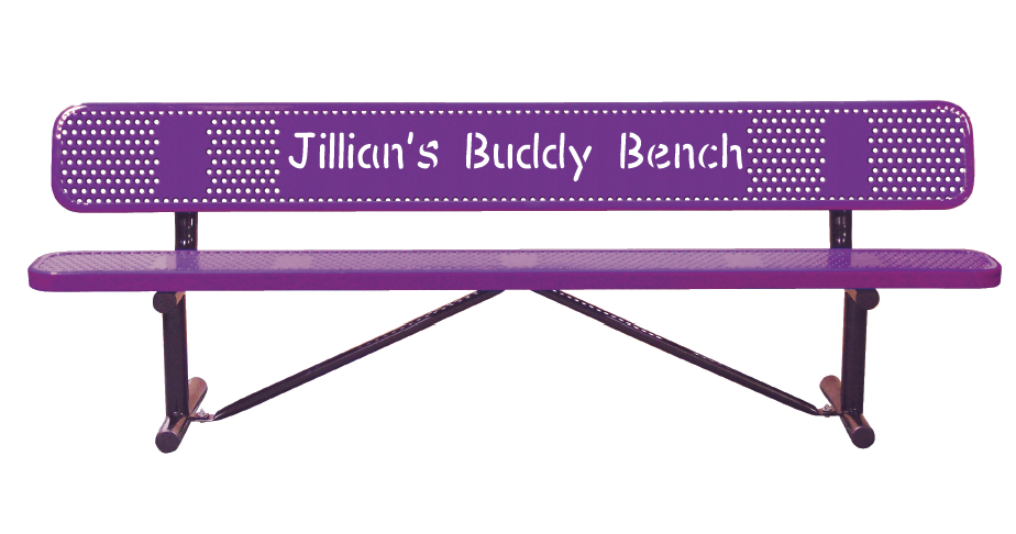 Personalized Perforated Bench with Back