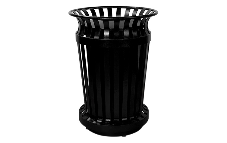 Executive Series Curved Flare Top Trash Receptacle - Powder Coated - Black