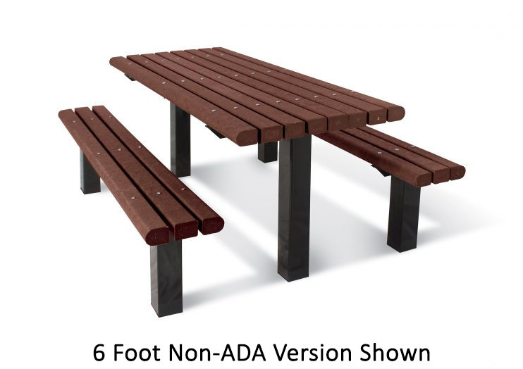 8' Multi-Pedestal Recycled Plastic Picnic Table - ADA