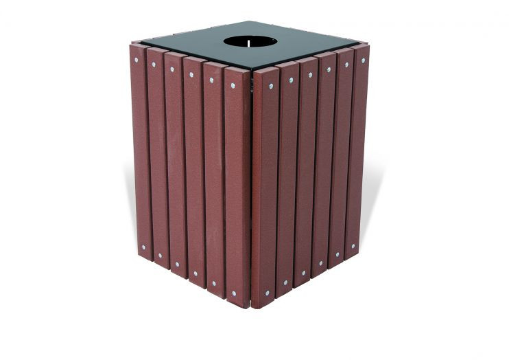 Recycled Plastic Square Trash Receptacle - 32 Gallon