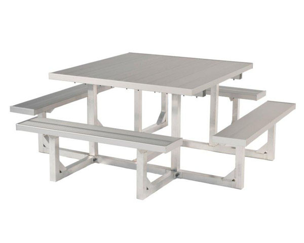Square Aluminum Picnic Table with All-Aluminum Frames