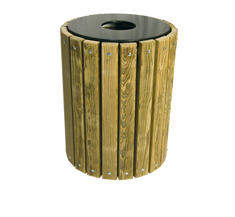 WOOD TRASH RECEPTACLES